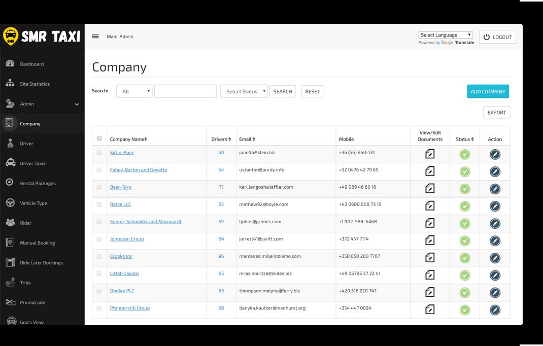 Company Management Screen