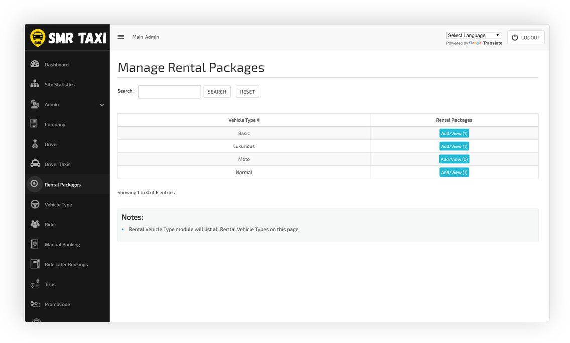 Manage Rental Packages Screen
