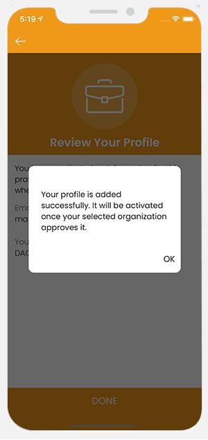 request sent to organization