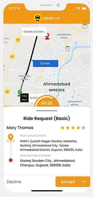Ride Rental driver Accept request