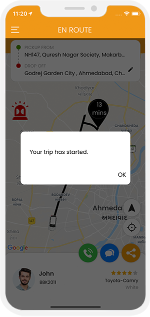 Driver started trip