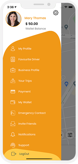 rider application menu option