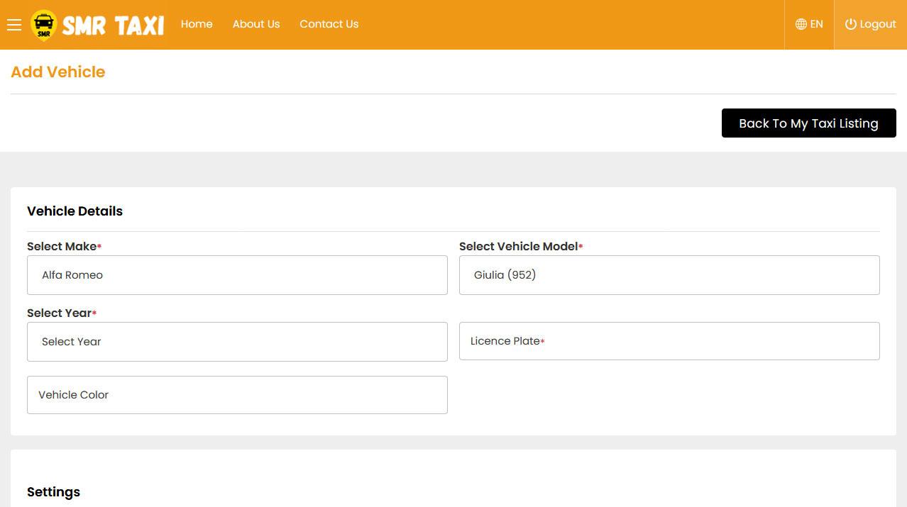 Driver Panel Add Vehicle