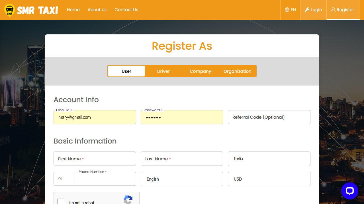 Rider Panel Registration Screen