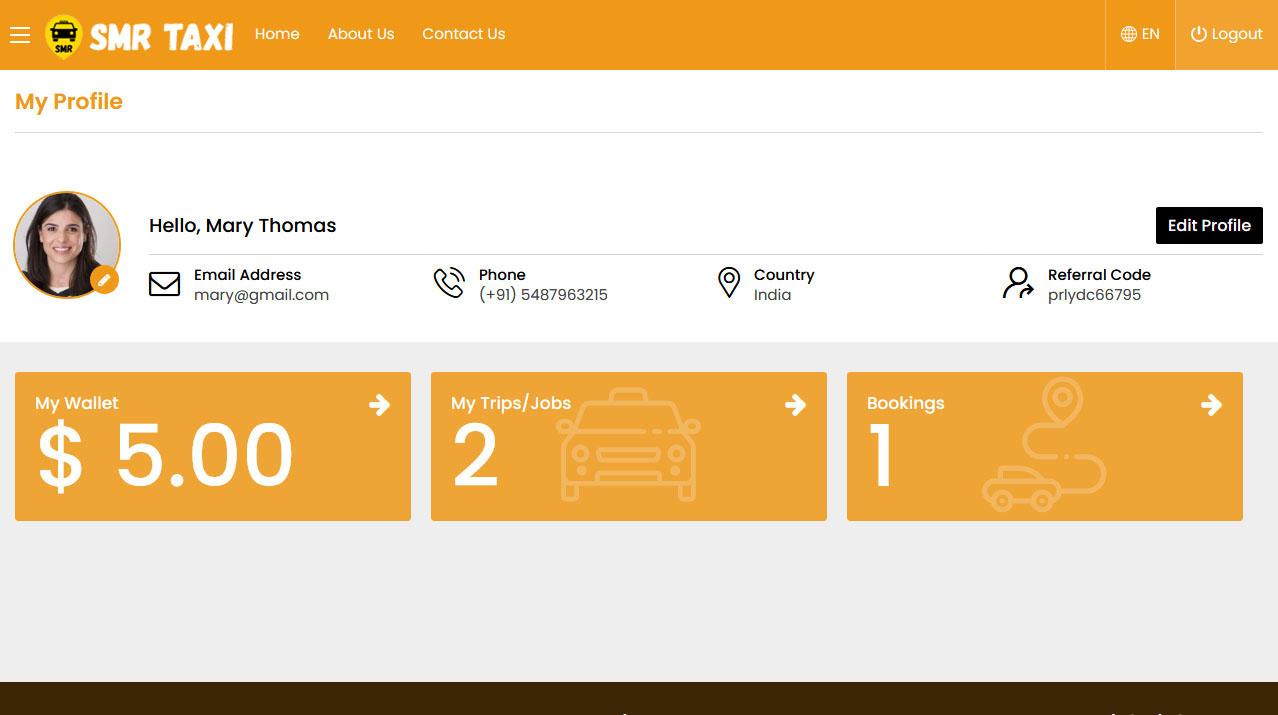 Rider Panel Manage Profile
